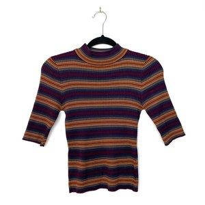 Say What? Striped Half Sleeve Mock Neck Sweater